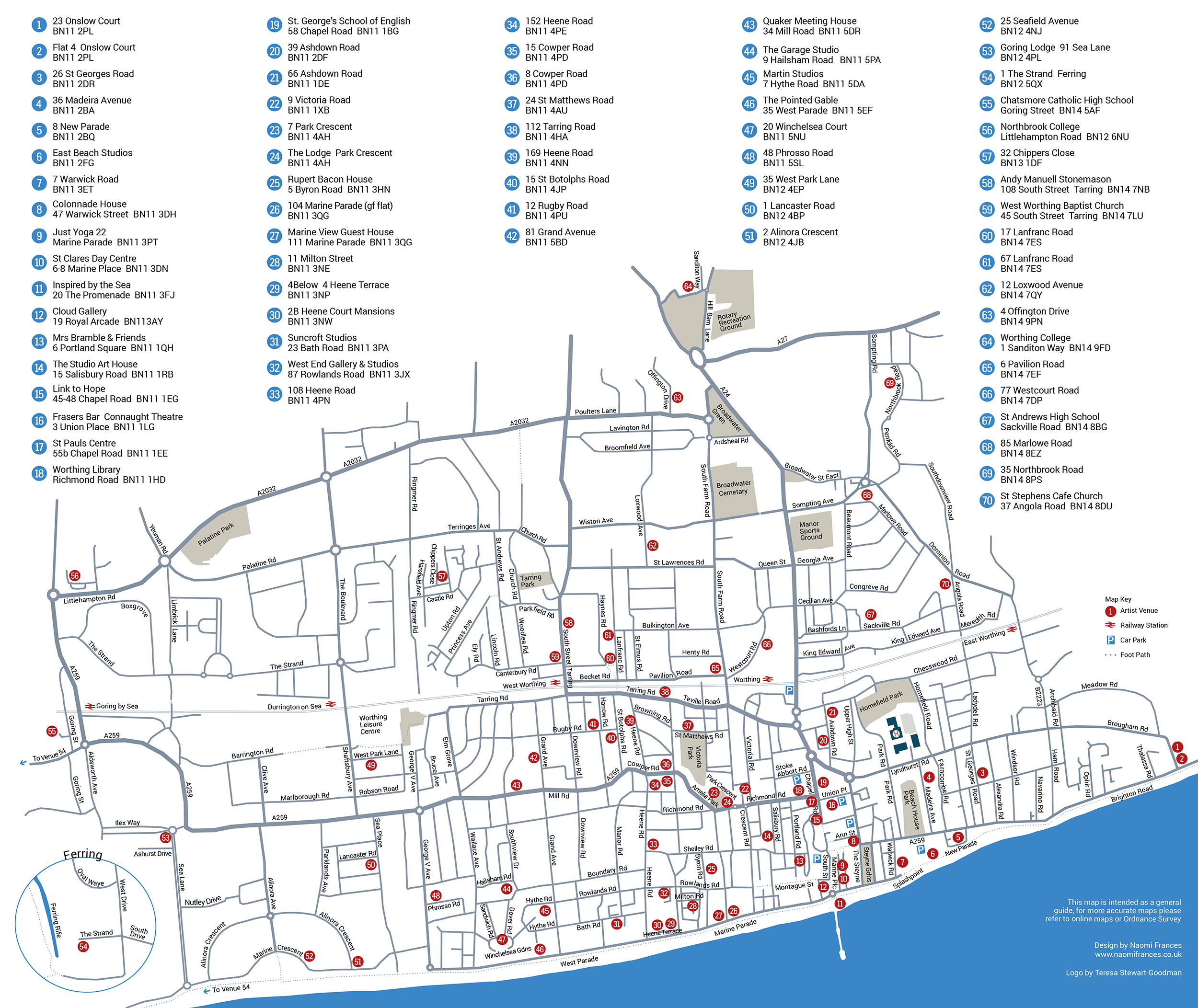 MAP WORTHING ARTISTS OPEN HOUSES - Angola road map